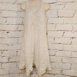 River Island 100% Linen Embellished Halter Dress